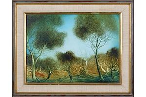 Pro Hart, Untitled (Landscape), Oil on Board