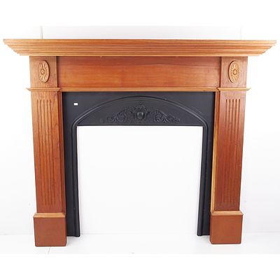 Antique Style Wooden Fire Surround with Cast Iron Insert