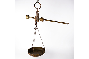 French Antique Brass and Wrought Iron 10 kg Butchers Scale with Original Copper Tray - Marked YTY Kekuatan