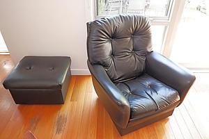 Retro Black Vinyl Upholstered Armchair and Ottoman