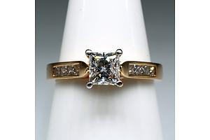 18ct Rose Gold Ring with Princess Cut Diamond 0.51ct (G VS2) with Four Princess Cut Diamonds on Either Side