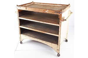 Antique Timber Four-Tier  Service Trolley with Brass Handles