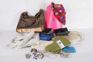 Group of Assorted Handbags, new Leather Gloves, Sunglasses and Various Costume Jewellery