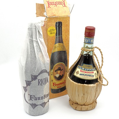 Vintage Faustino Spanish Red Wine and Ruffino Chianti in Decorative Bottle (2)