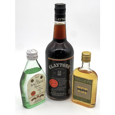 Bacardi Rum 200ml, Tolleys Brandy 150ml and a 750ml Claytons Non Alcoholic (3)