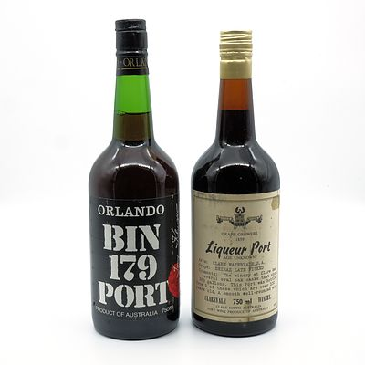 Clarevale Grape Growers Liqueur Port and Orlando Bin 179 Port - Two Bottles (2)