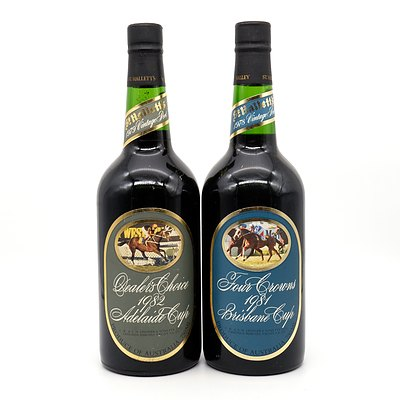 St Halletts Racing Series Port - Four Crowns 1981 Brisbane Cup and Dealers Choice 1982 Adelaide Cup - Lot of Two Bottles (2)