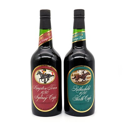 St Halletts Racing Series Port - Kingston Town 1980 Sydney Cup and Rothschild 1980 Perth Cup - Lot of Two Bottles (2)