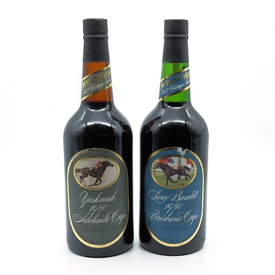 St Halletts Racing Series Port - Yashmak 1980 Adelaide Cup and Love Bandit 1980 Brisbane Cup - Lot of Two Bottles (2)