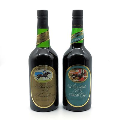 St Halletts Racing Series Port - Magistrate 1981 Perth Cup and Belldale Ball 1980 Melbourne Cup - Lot of Two Bottles (2)
