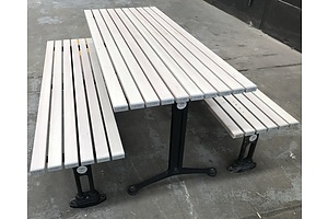 Street Furniture Outdoor Table With Bench Seats