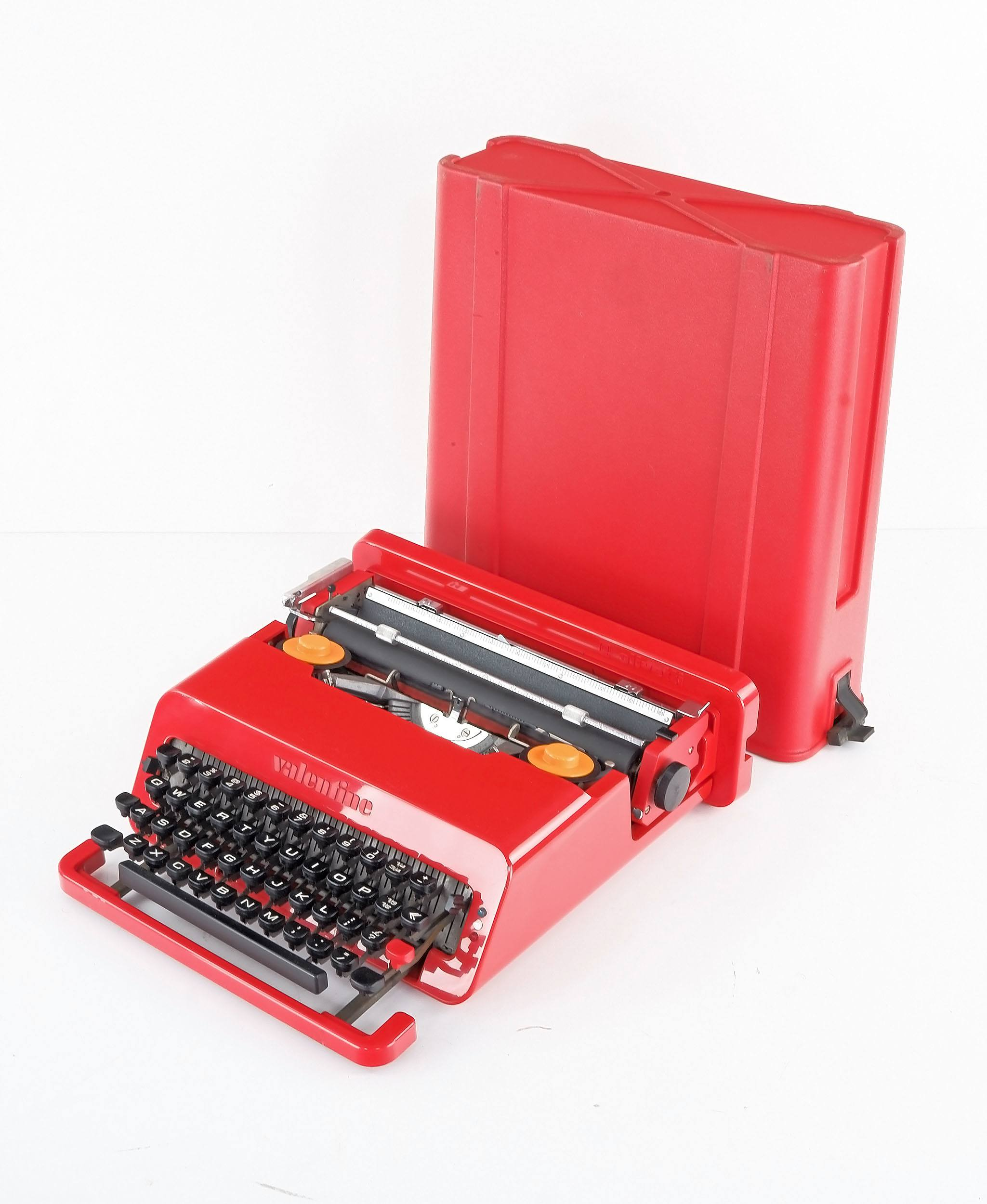 'Olivetti Valentine Typewriter with Original Case, Designed by Ettore Sottsass and Perry King, Circa 1960s'