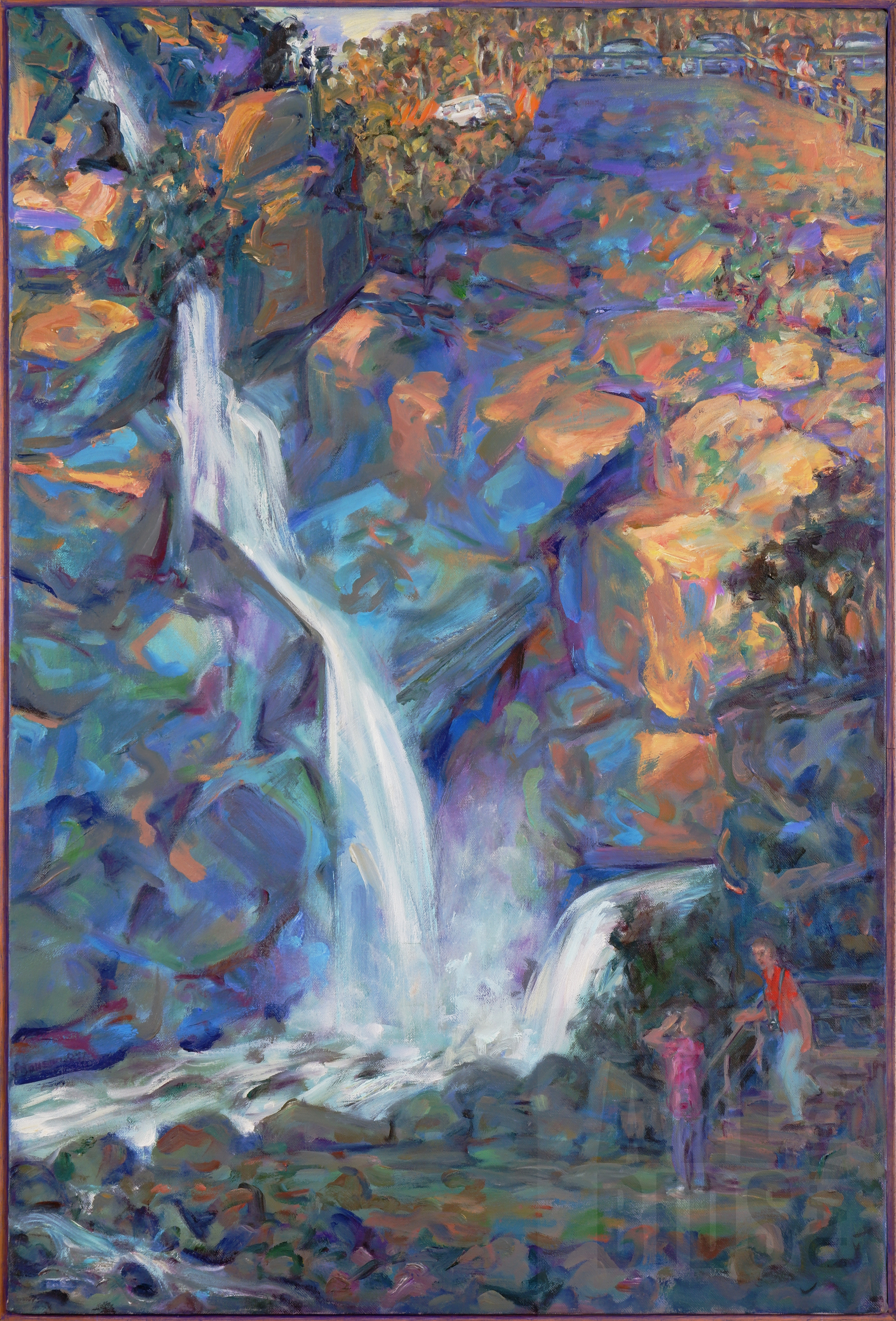 'Janet Dawson (born 1935), Untitled (Waterfall and Lookout), Oil on Canvas, 76 x 51 cm'
