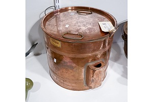 Antique Fowlerss Vacola De Luxe Lidded Solid Copper Preserving Can