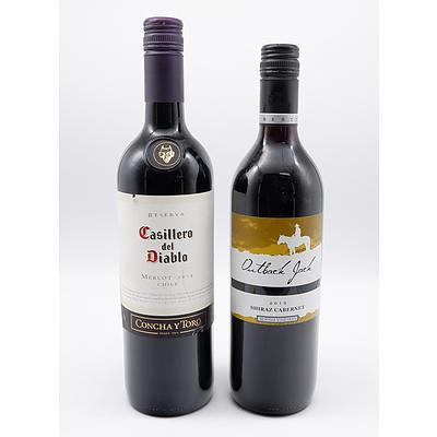 Casillo Del Diablo Chile 2014 Merlot and Outback Jack 2015 Shiraz Cabernet - Lot of Two Bottles (2)