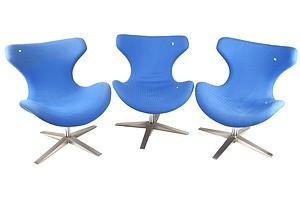 Set of Three Executive Style Swiveled Chairs with Brushed Steeled Base Blue Fabric Upholstery
