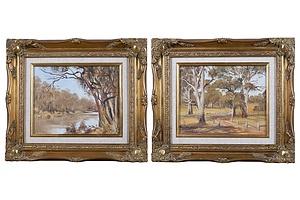 Dawn Howard, Australian Landscapes, Oil on Board, each 19 x 24 cm (2)