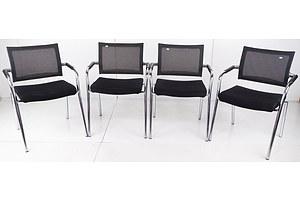 Set of Four Contemporary Chrome Framed Chairs