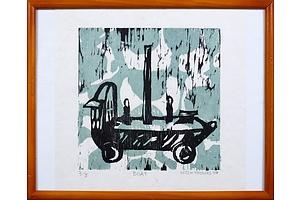 Mitch Thomas, Boat 2004, Linocut