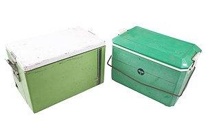 Vintage Malleys Metal Cooler Box and a Vintage Telecom Cooler Box