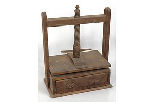 Antique F. Lassetter & Co Sydney Wooden Hand Operated Screw Press with Manufacturers Label and Single Drawer Circa 1900