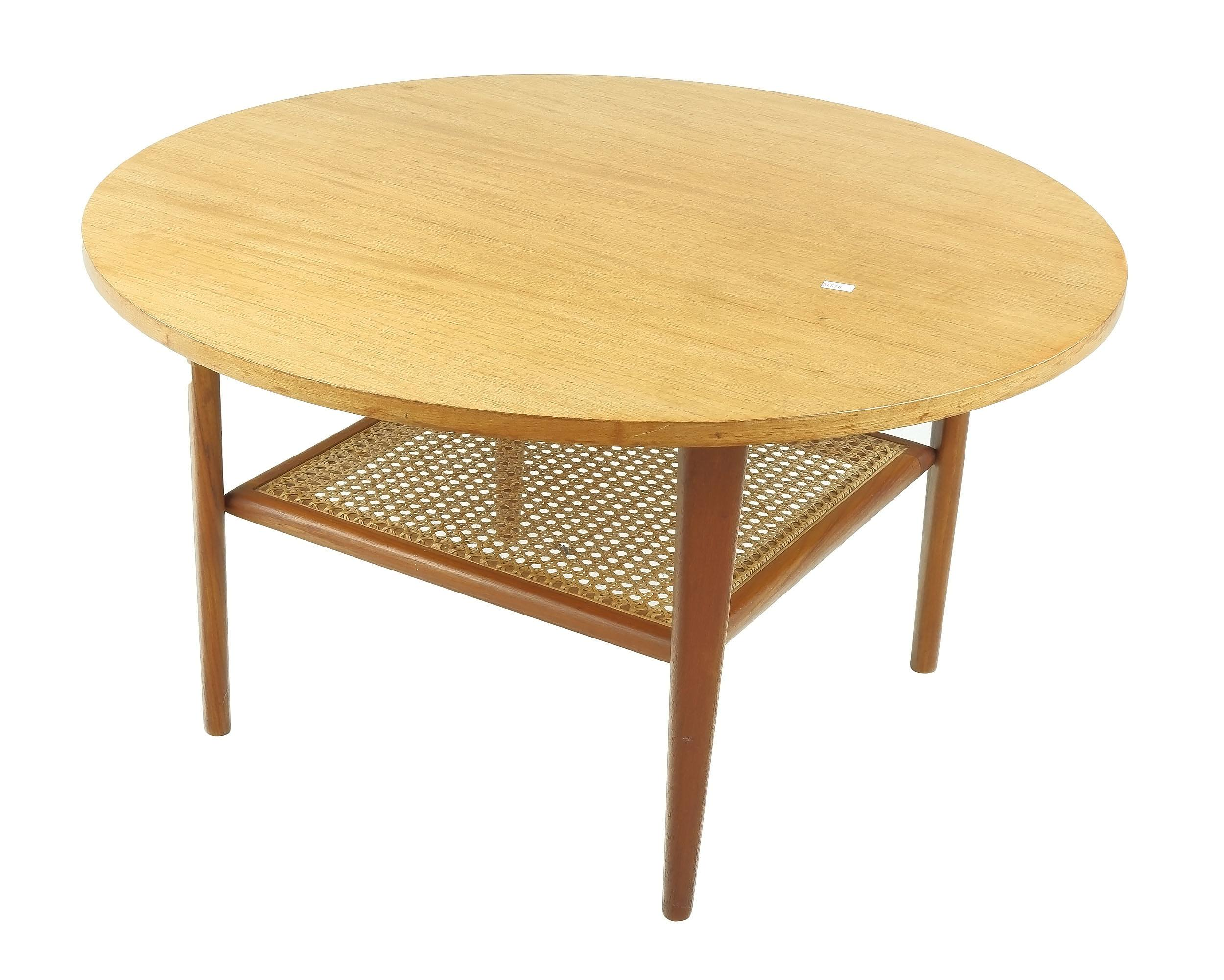 'Circular Teak Coffee Table with Rattan Magazine Shelf and Cigar Legs'