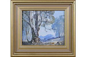 Nan Rogers, Blue Hills, oil on Canvasboard