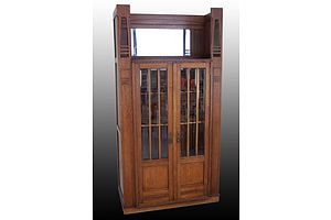 Belgium Secessionist Full Oak Cabinet with Heavily Beveled Glass Panel Doors and Mirrored Back in Open Section Top - Circa 1910's