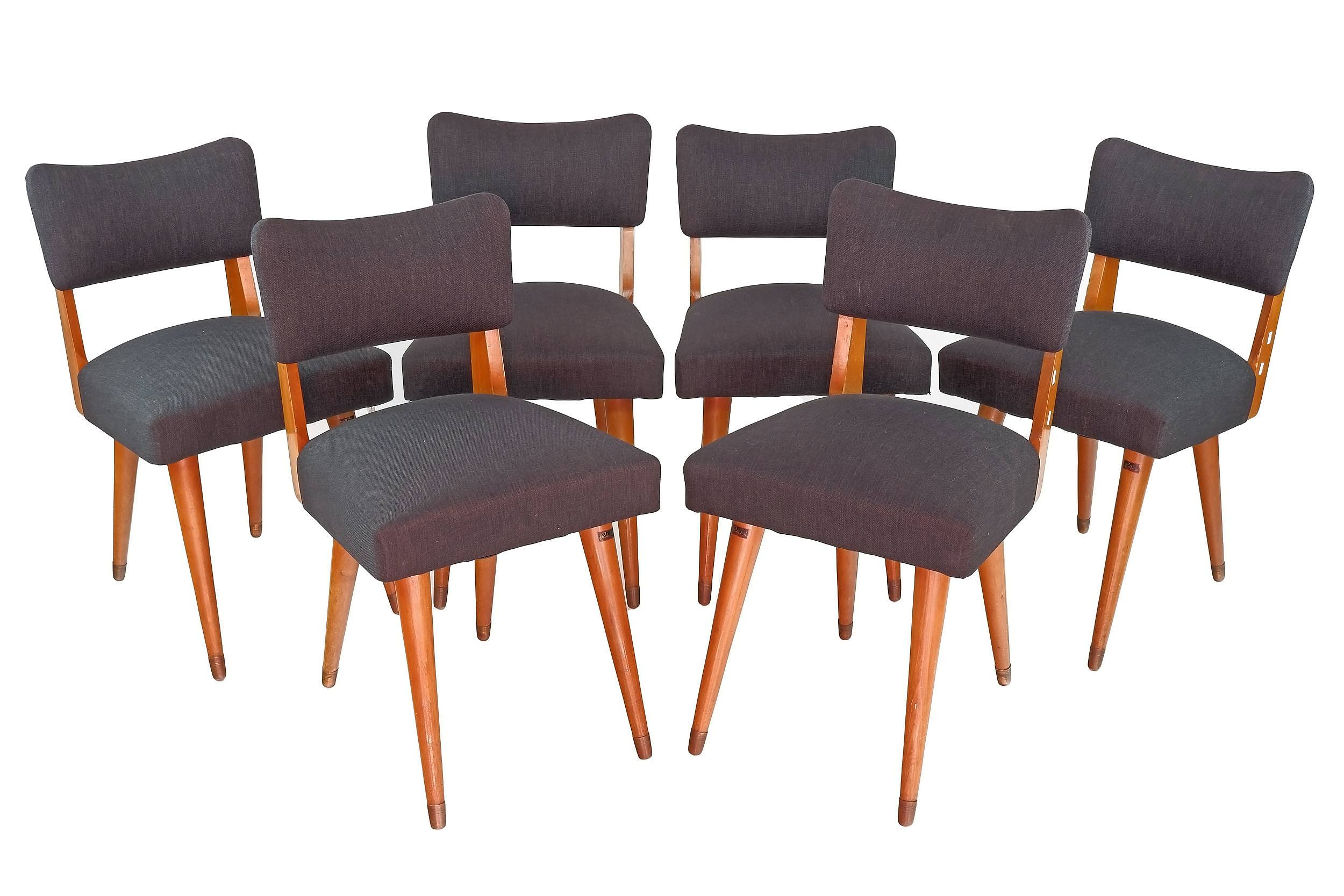 'Six Parker Newly Upholstered Dining Chairs, with Original Labels'