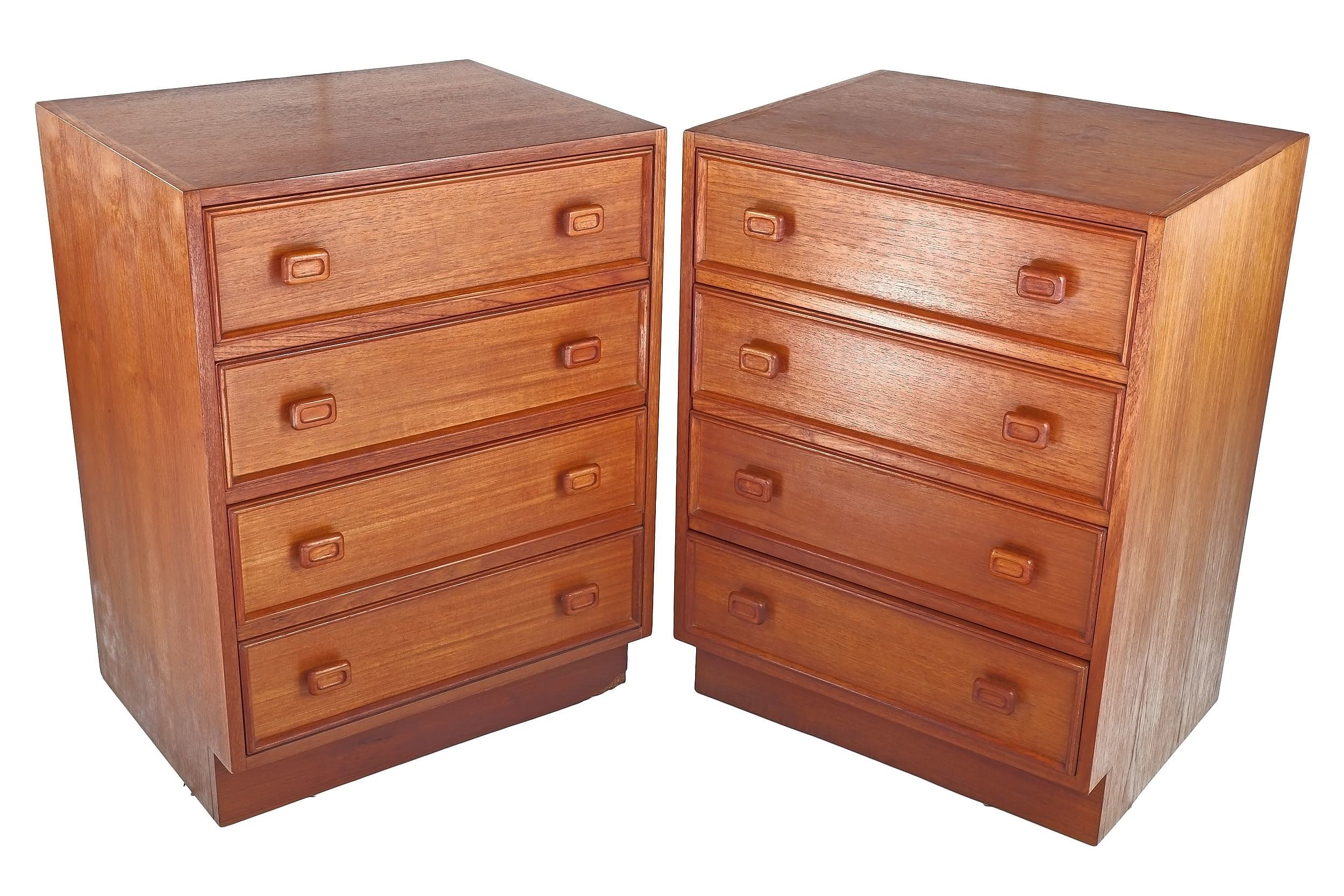 'Pair of Parker Teak Four Drawer Bedside Chests'