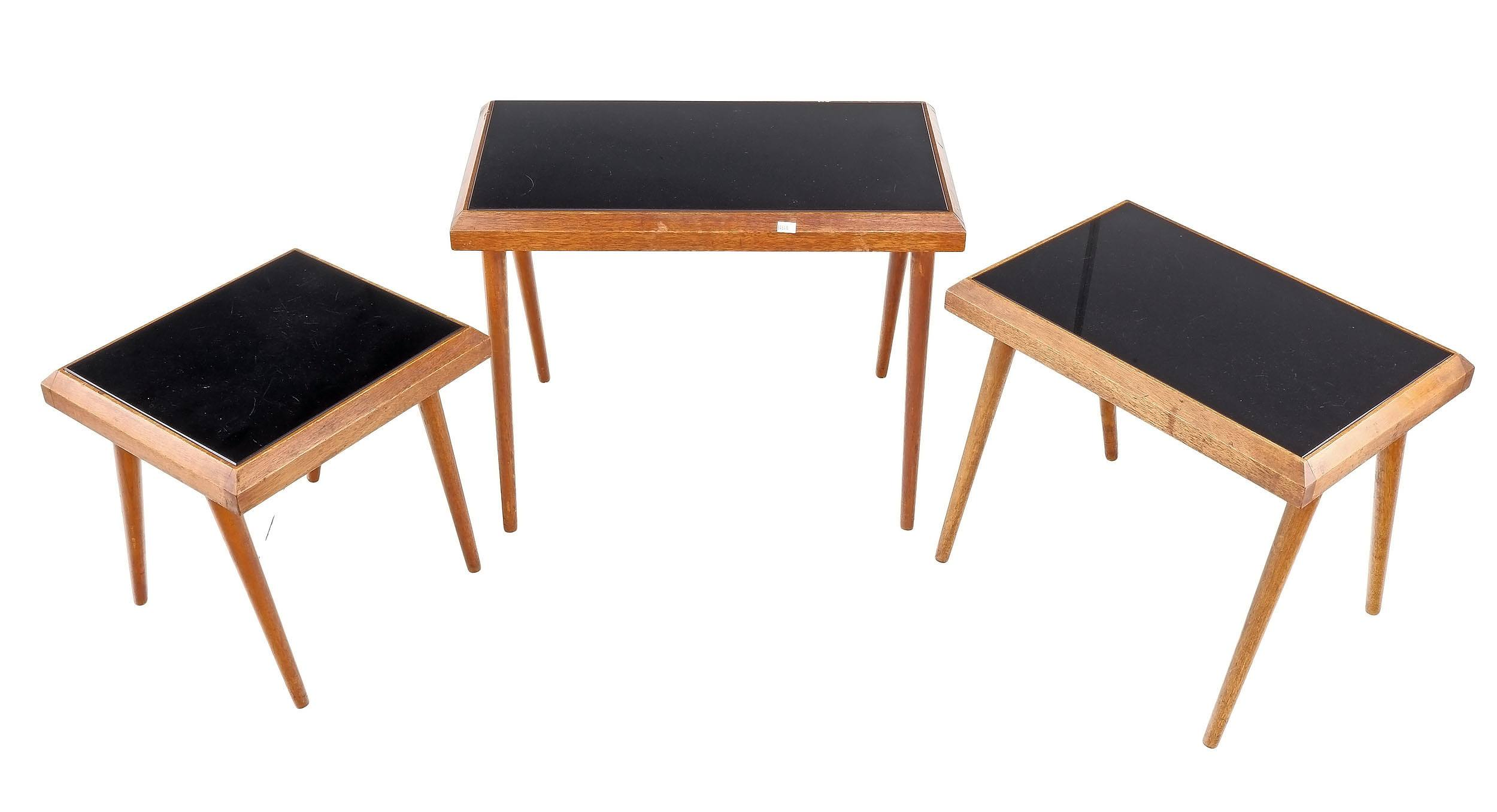 'Nest of Teak Tables with Black Glass Inserts'