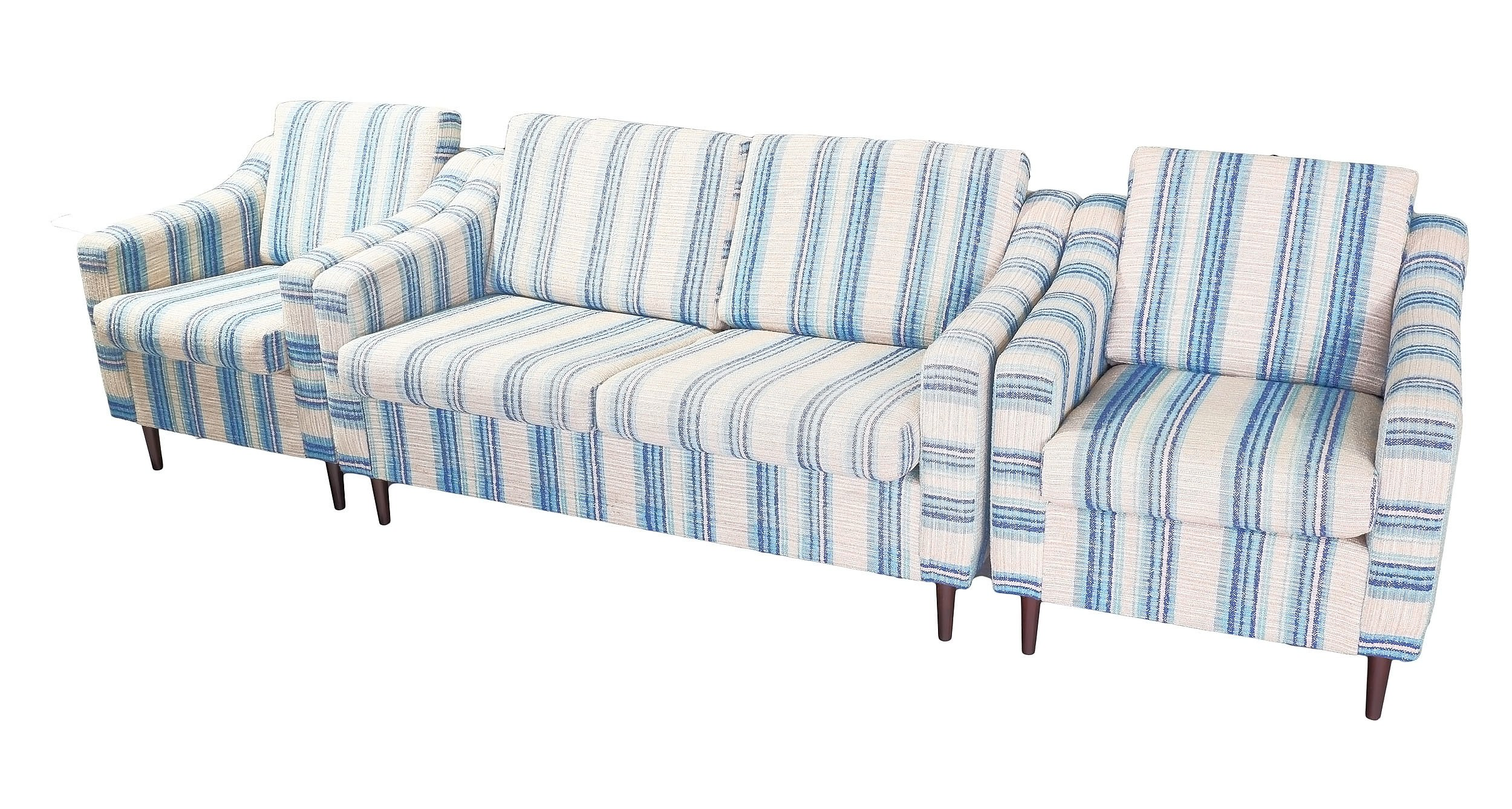 'Parker Three Piece Lounge Suite with Blue and Cream Striped Upholstery'