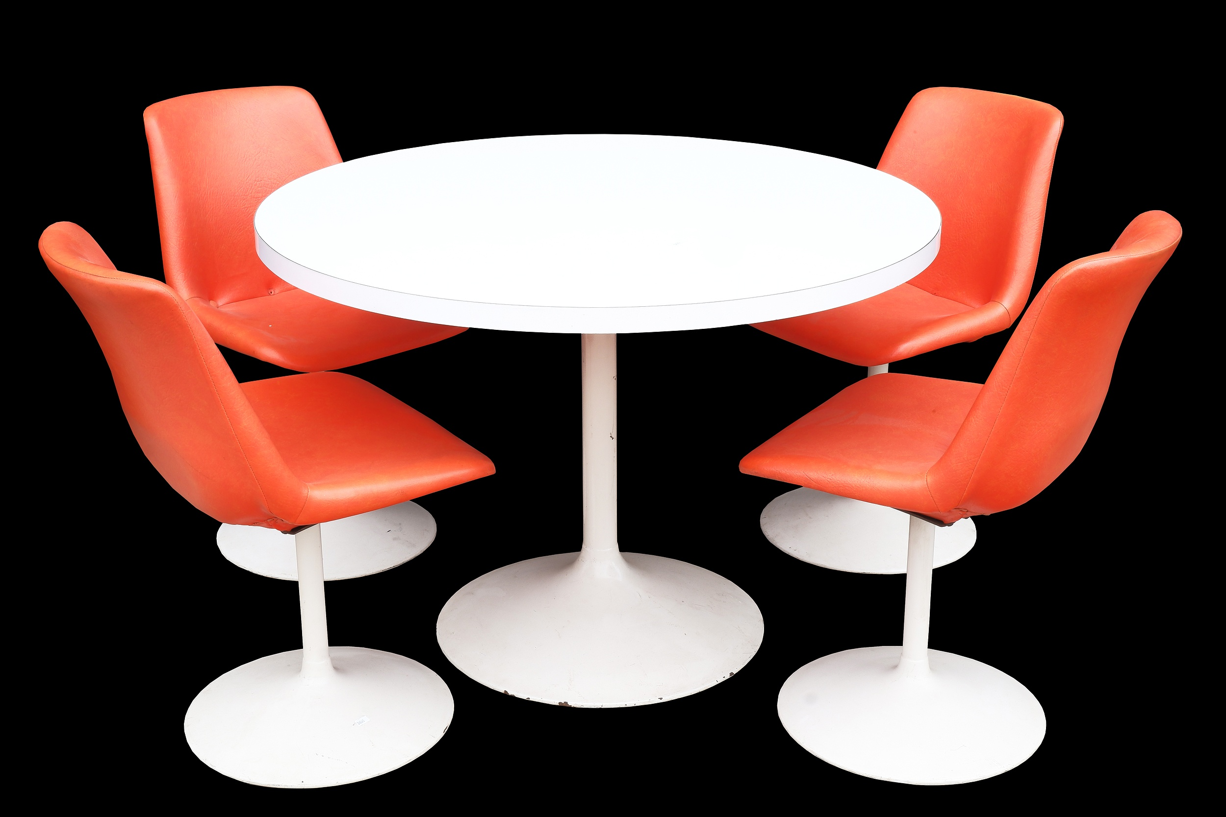 'Vintage Tulip Style Dining Suite with Four Orange Vinyl Upholstered Chairs'