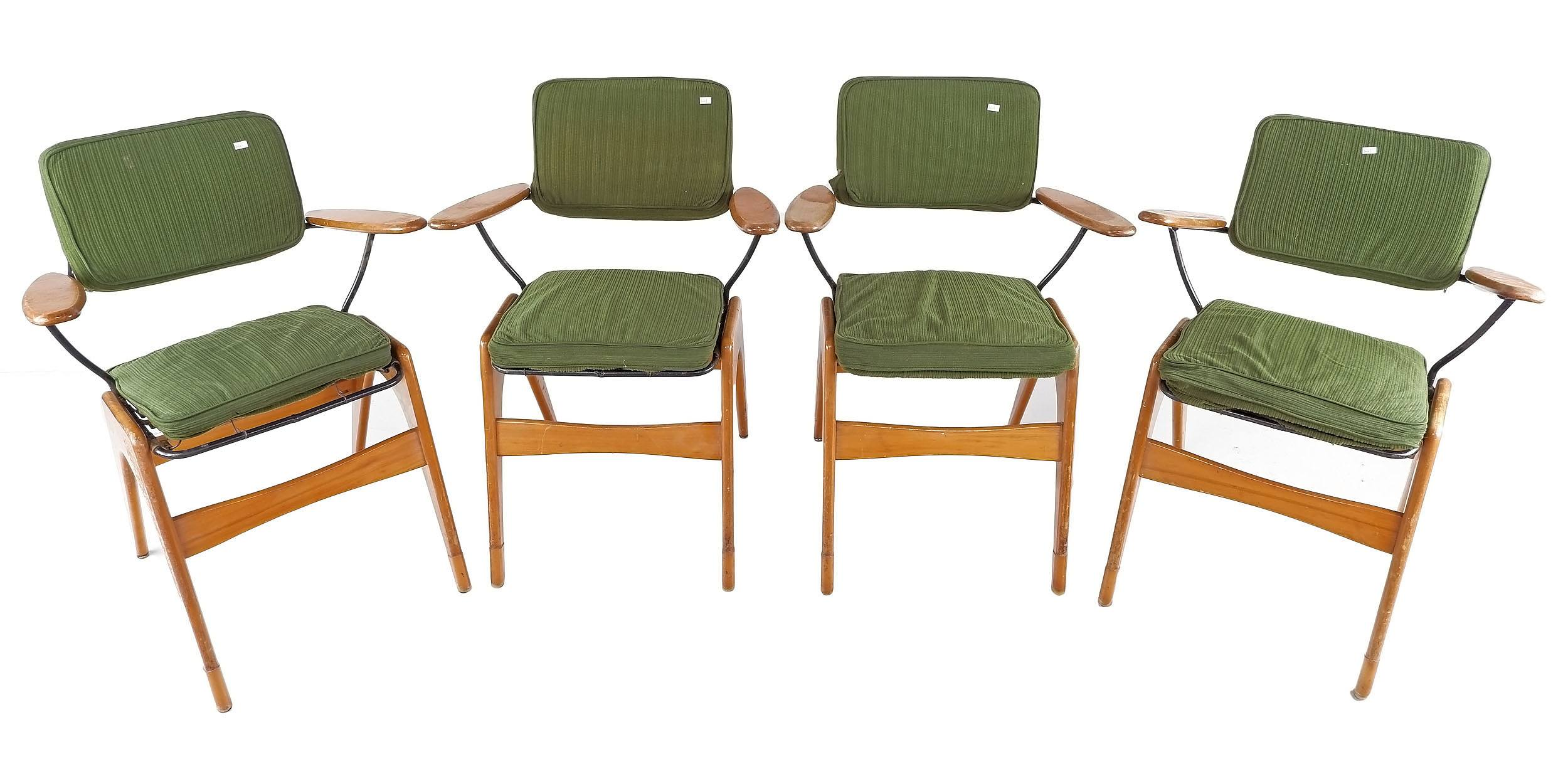 'Four Fler Executive Dining Chairs, Designed by Fred Lowen'