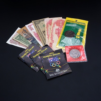 Three 1992 Olympic Dollars, Souvenir Tokens and International Banknotes, Including 1988 Australian Bicentennial Commemorative $10 Note, AB20941144
