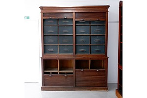 An Antique Oak Shop Cabinet of Grand Proportions with Tambour Doors and Fitted Sections Above and Below