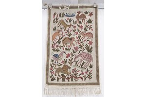 Turkish Hand Crafted tapestry Mat with Animal Motif