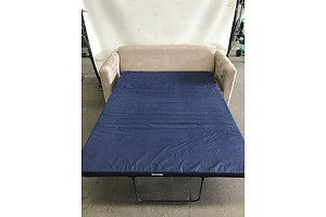 Beige Micro Swede Two Seat Sofa Bed