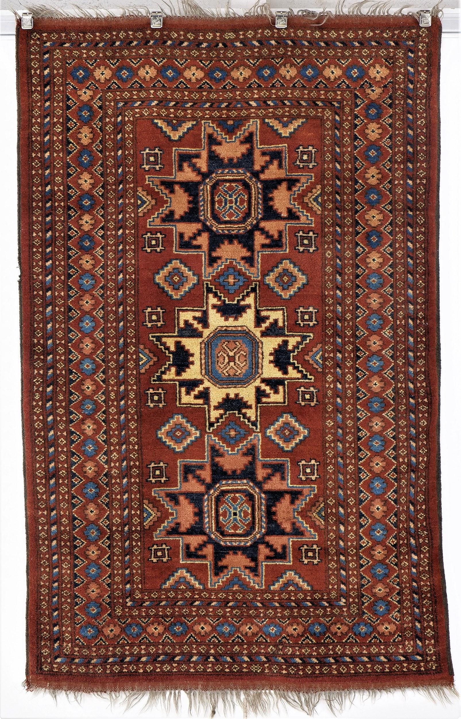 'Afghan Star Kazakh Design Hand Knotted Soft Wool Rug '