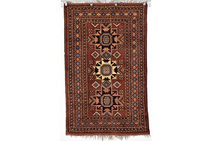 Afghan Star Kazakh Design Hand Knotted Soft Wool Rug