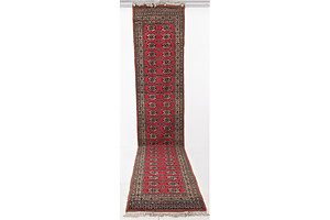 Afghan Hand Knotted Pure Wool Tribal Bokkhara Runner