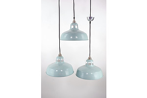Three Davey Industrial Style Pendant Light Fittings Made in England