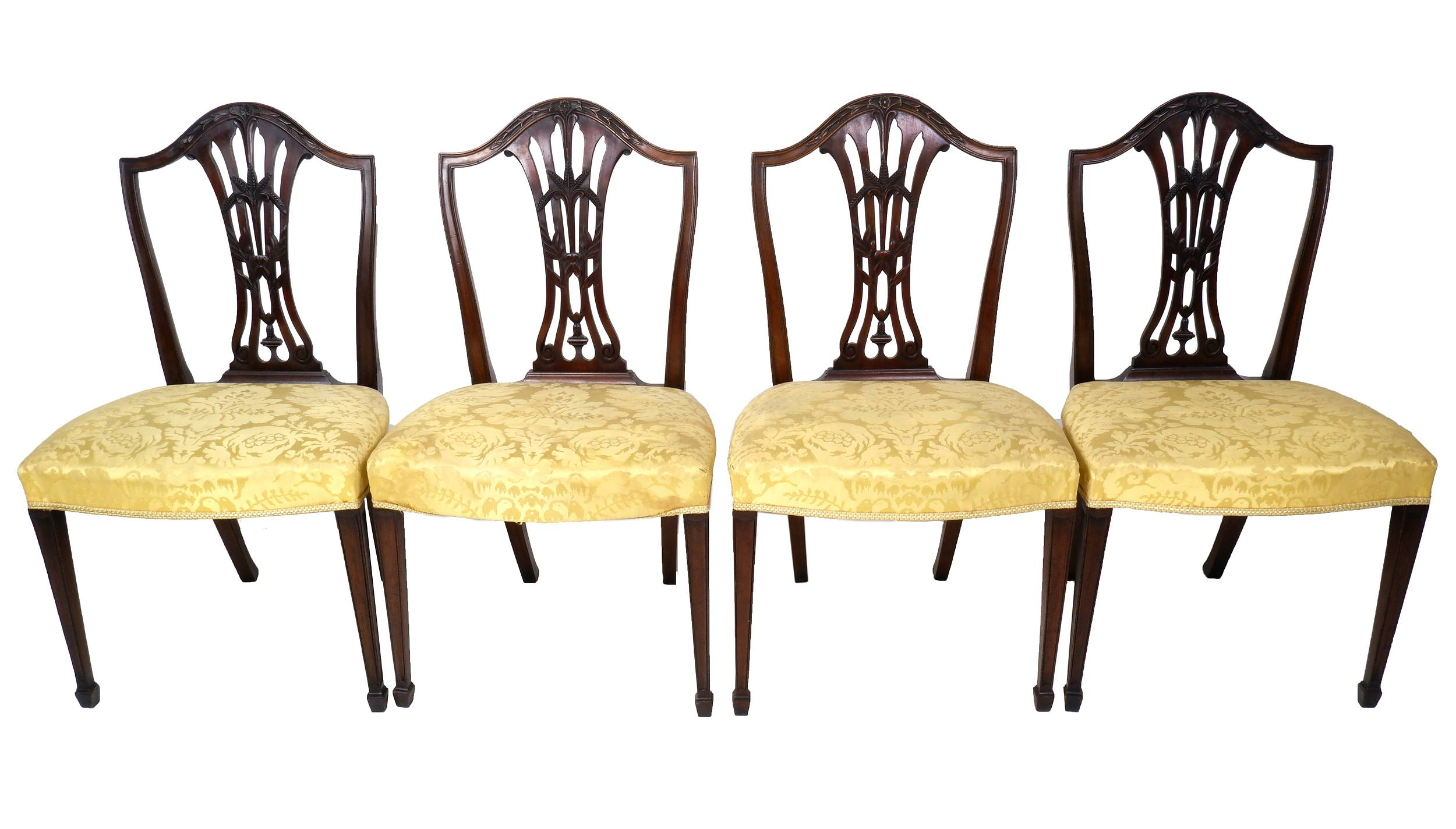 'Four Edwardian Hepplewhite Style Mahogany Dining Chairs with Carved Wheat Sheaf Decoration'
