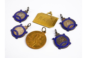 Six Various Vintage Medallions including Two Sterling Silver