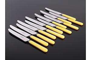 Vintage Set of 12 Robert F Morley 'Rusnorstain' Faux Bone Handled Knives