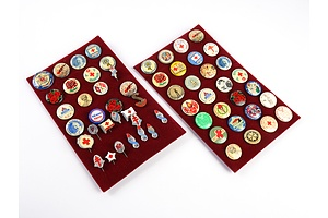 Collection of Approx 58 Assorted Vintage Badges including Red Cross