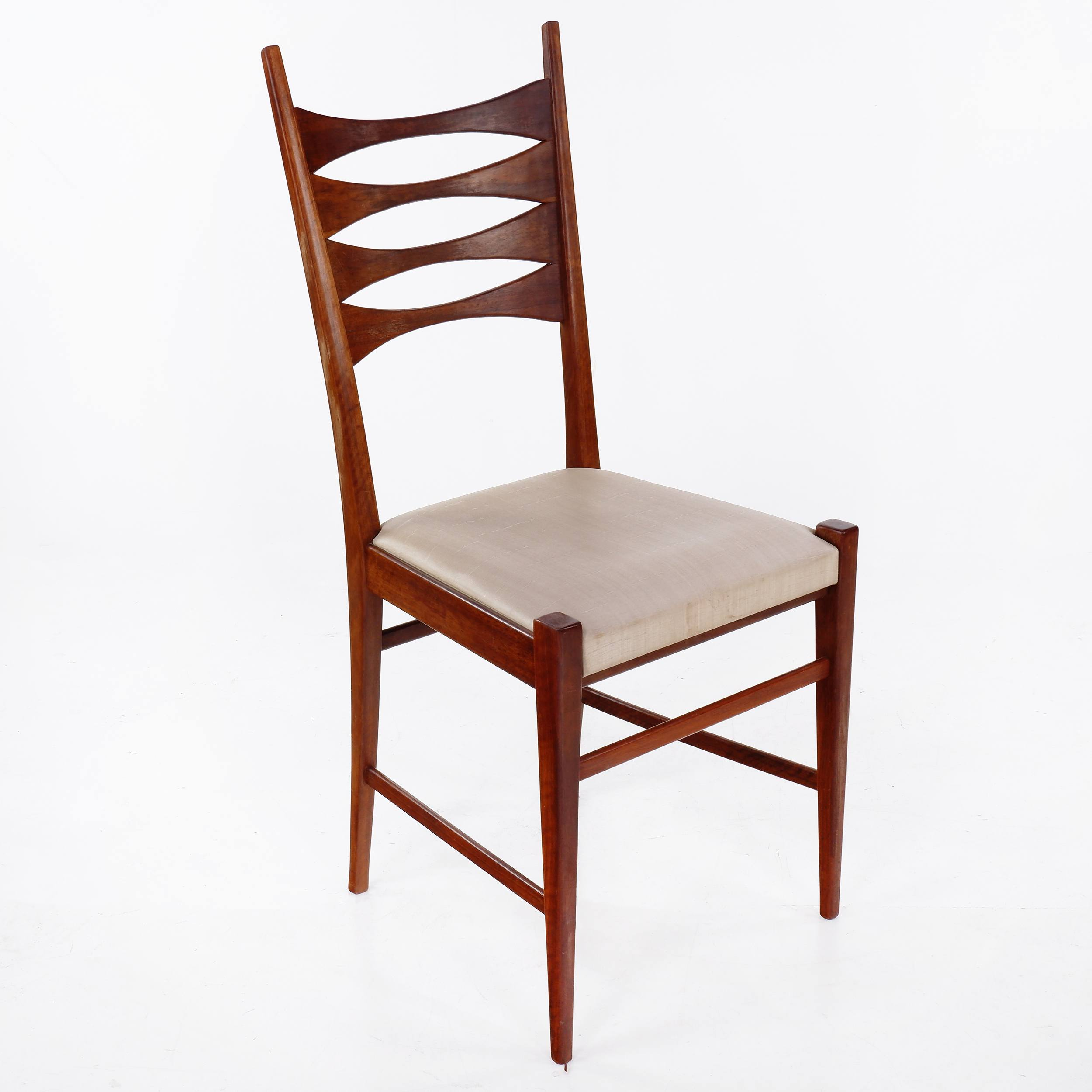 'Set of Four Hand Crafted Jarrah Dining Chairs with Satin Vinyl Upholstered Seats - Circa 1970s'