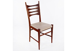 Set of Four Hand Crafted Jarrah Dining Chairs with Satin Vinyl Upholstered Seats - Circa 1970s