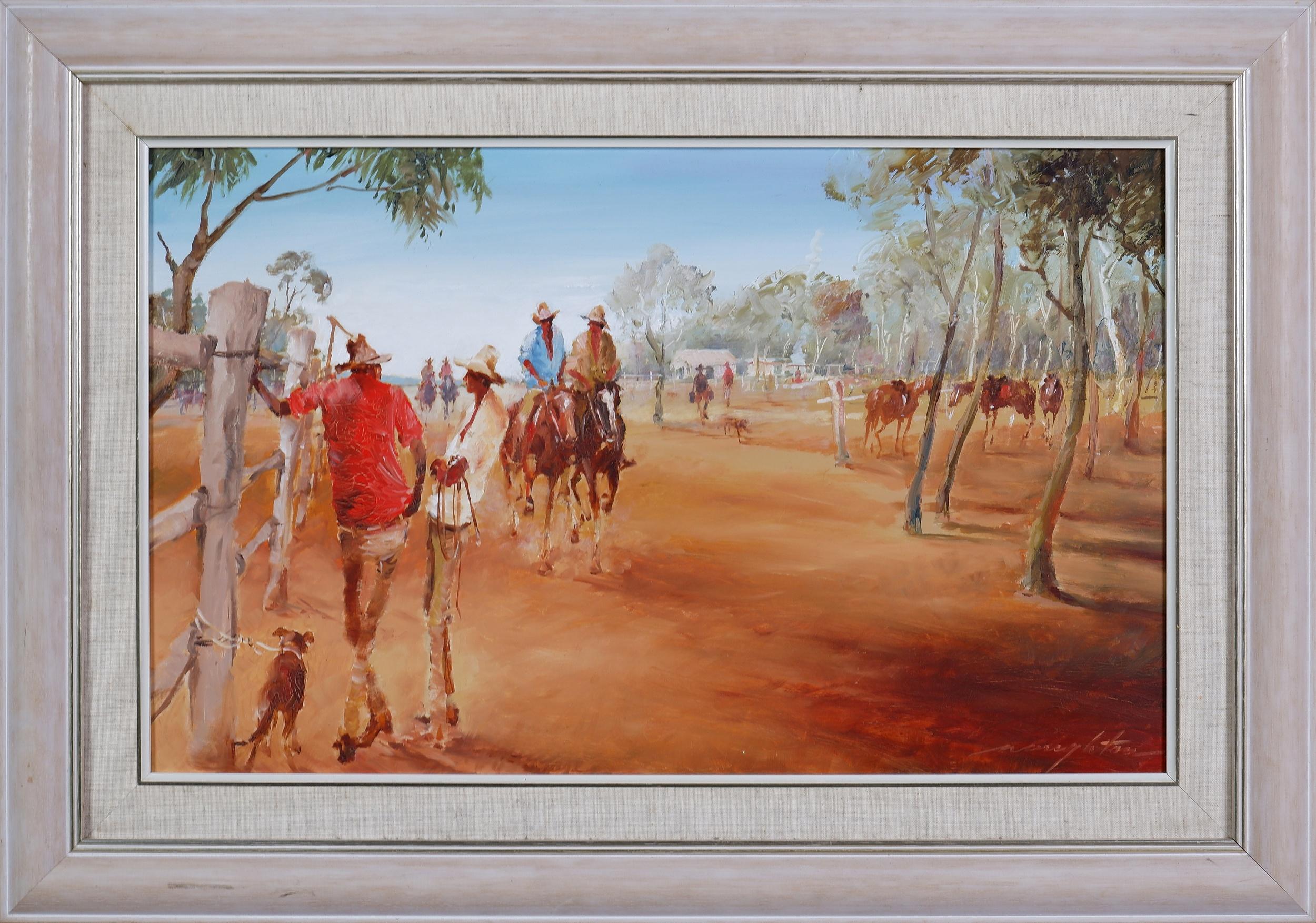 'Keith Naughton (1925-2019), Paltarra Camp, North Queensland, Oil on Board'