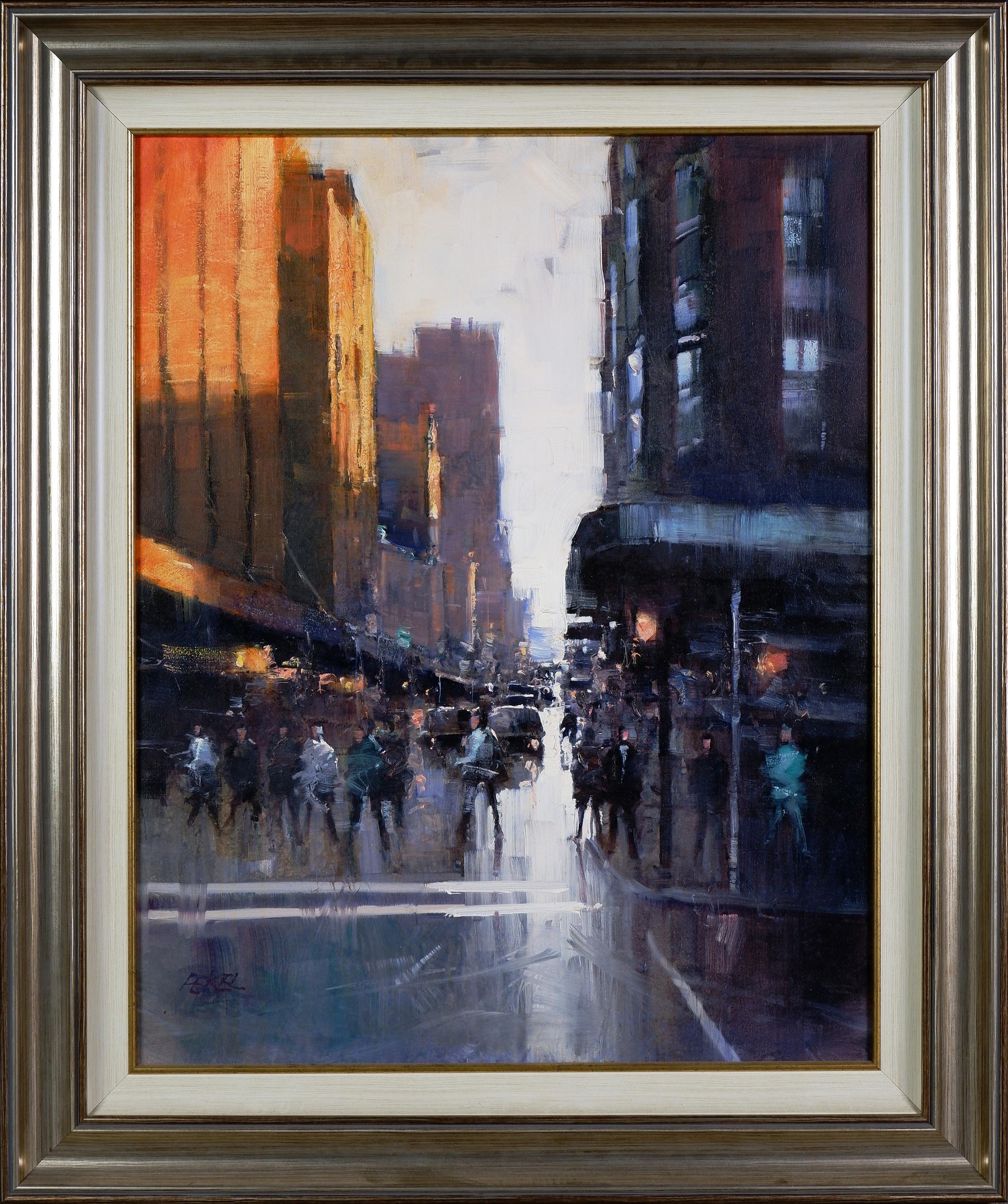 'Herman Pekel (born 1956), Untitled (City Street Scene), Oil on Canvas'